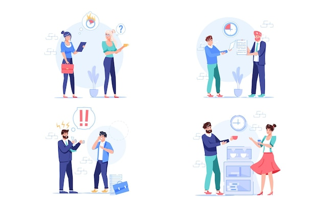 Set of vector cartoon flat employees characters at work scenes.employees office workers in deadline time,report to boss,at lunch break- workflow situations web site banner concept