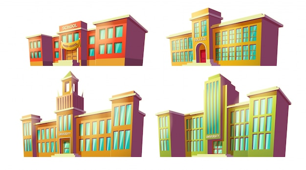 Set of vector cartoon illustrations of various color old, retro educational institutions, schools.