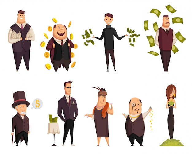 Set of vector cartoon rich people. happy super rich successful businessmans and businesswoman