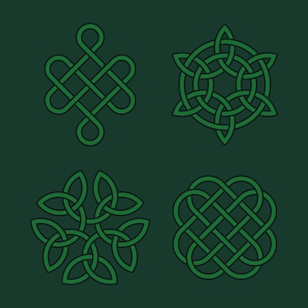Set of vector celtic knots. irish medieval spirit symbols
