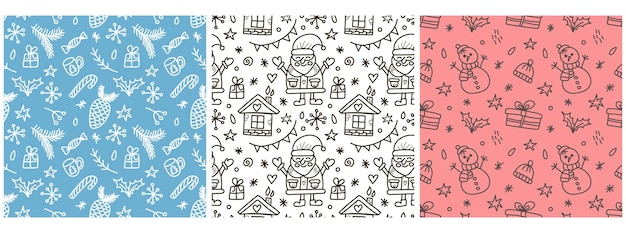 Set of vector christmas patterns in doodle style vector illustration with santa claus snowman and