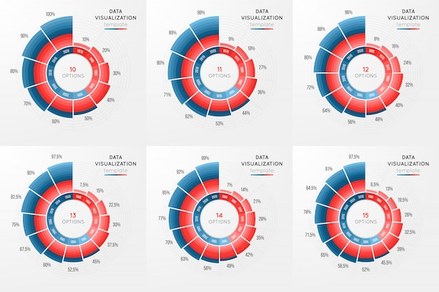 Set of vector circle chart infographic template for data