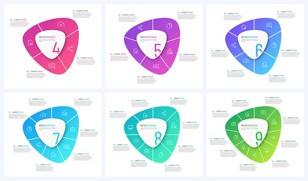 Set of vector circular infographic templates in the form of abstract shapes.