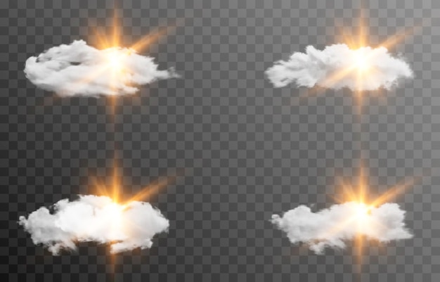 Set of vector clouds with the sun dawn sunrise light sun rays cloud smoke fog png