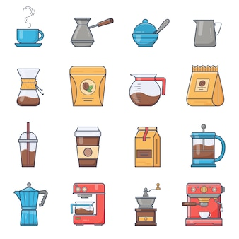 Set of vector coffee elements and coffee accessories