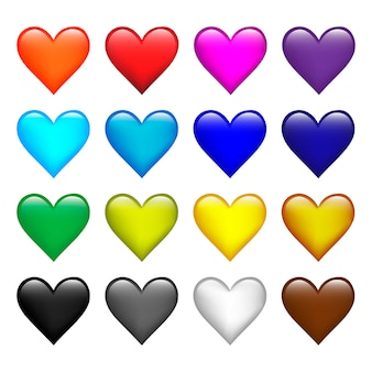 Set of vector color hearts icons