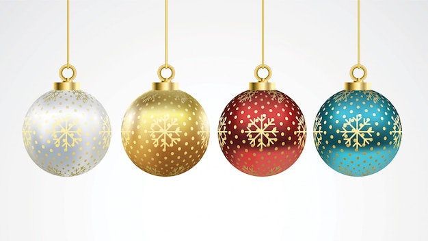 Set of vector colorful christmas balls with ornaments