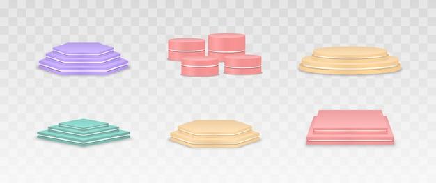 Set of vector colorful podiums pedestals or platforms background for product presentation.