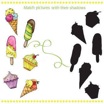 Set of vector colorful tasty isolated cartoon ice cream - match the pictures - game for children