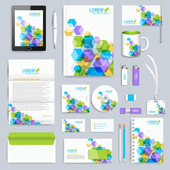 Set of vector corporate identity template.