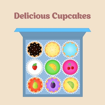 Set of vector cupcakes. top view flat icon