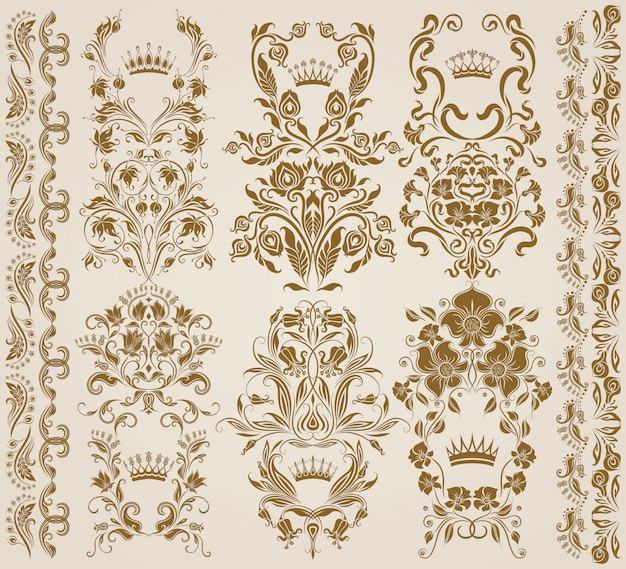 Set of vector damask ornaments, patterns.