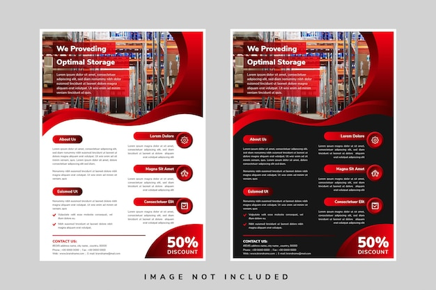 Set of vector design of the black and red flyers with places for pictures or photos vector template