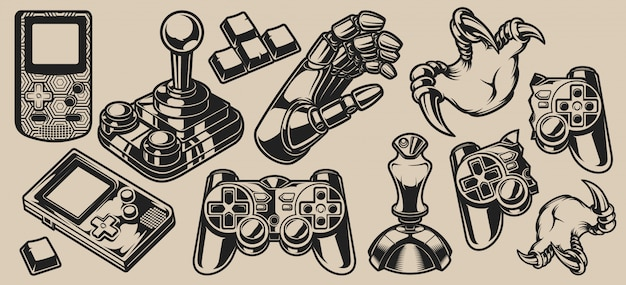 Set of vector elements design for gaming theme on a white
