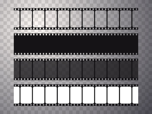 Set of vector film strip isolated on transparent