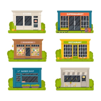 Set of vector flat design restaurants exterior and shops facade: book store, barber shop, supermarket, coffee.