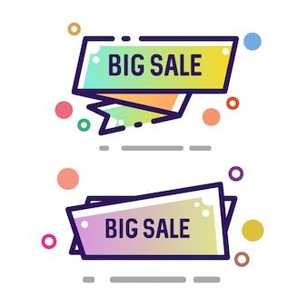 Set of vector flat ribbon shape outline stroke big sale banners