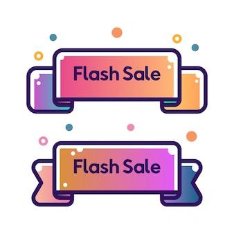 Set of vector flat ribbon shape outline stroke flash sale banners