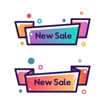 Set of vector flat ribbon shape outline stroke new offer banners