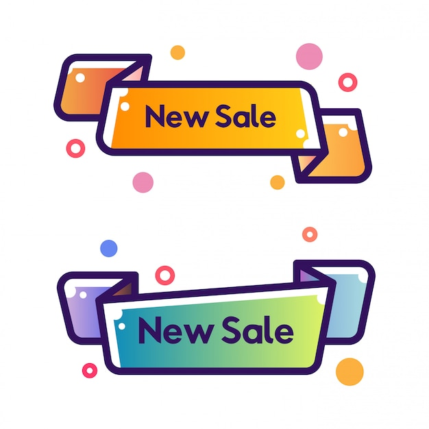 Set of vector flat ribbon shape outline stroke new sale banners