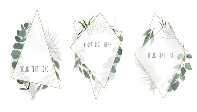 Set vector floral botanical card