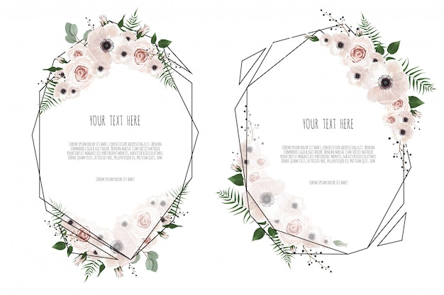 Set vector floral design card.