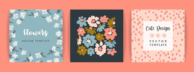 Set of vector floral design. template for card, poster, flyer, home decor and other use. Premium Vector