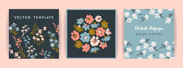 Set of vector floral design. template for card, poster, flyer, home decor and other use.