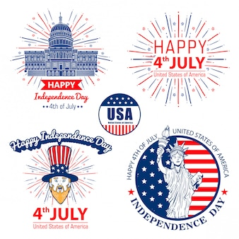 Set vector forth of july united stated independence day celebration