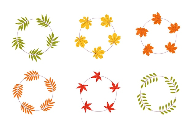 A set of vector frames made of autumn leaves on a white isolated background
