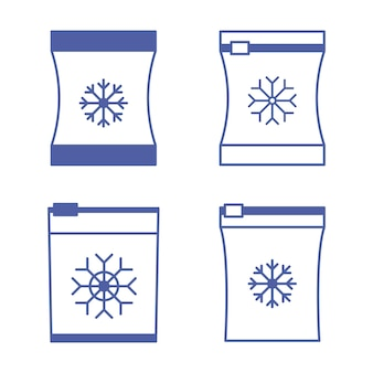 Set of vector frozen food bag freeze bagcontainers and bags for food semifinished products frozen