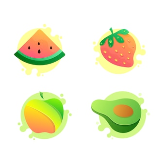 Set of vector fruit icons, watermelon, apple, avocado, strawberry