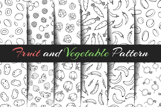 Set of vector fruit and vegetable patterns.