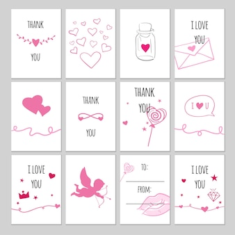 Set of vector gift tags for valentine's day. romantic vector cards and labels for presents with hand drawn doodles.
