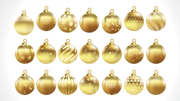 Set of vector gold christmas balls with ornaments. golden collection isolated decorations.