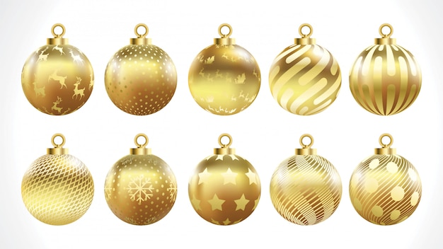 Set of vector gold christmas balls with ornaments