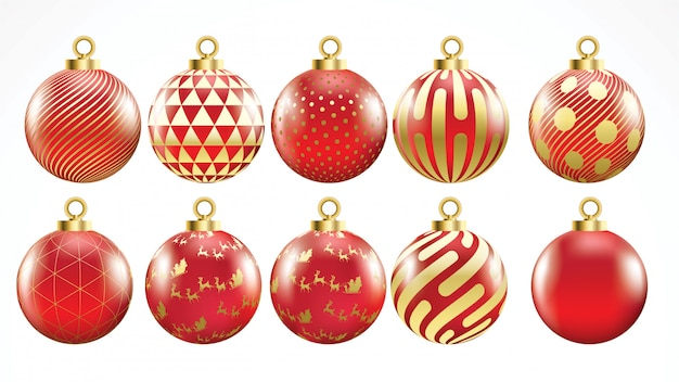 Set of vector gold and red christmas balls with ornaments