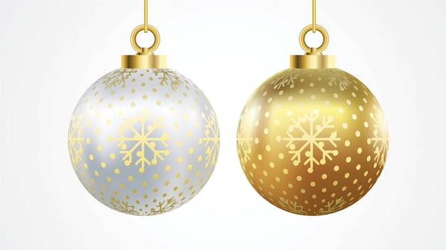 Set of vector gold and silver christmas balls with ornaments