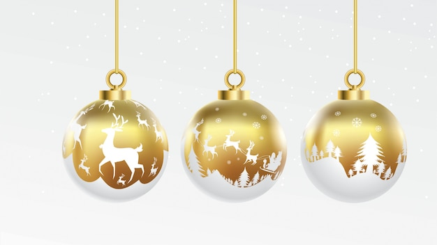 Set of vector gold and white christmas balls with ornaments. glossy collection isolated