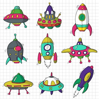 Set vector graphic of spaceship
