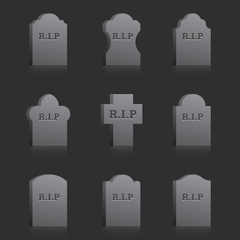 Set of vector gravestones with text rip on the gray background