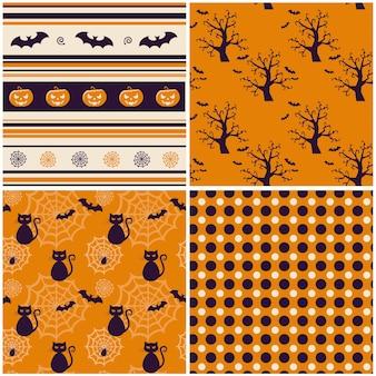 Set of vector halloween backgrounds.