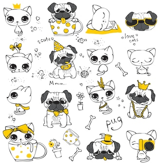 Set of vector hand drawn cute cats and dogs in simple design for kid's greeting card design, t-shirt print, inspiration poster.