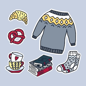 Set of vector hand drawn stickers.