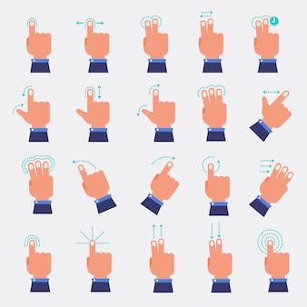 Set vector of hand and finger
