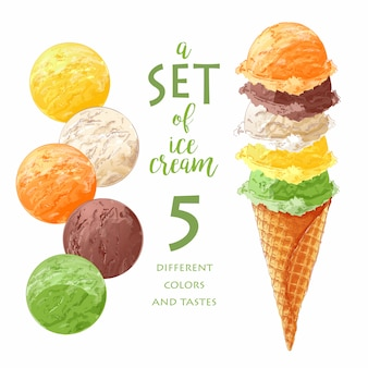 Set of vector ice creams