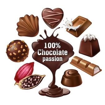 Set of vector icons of chocolate desserts and candies, liquid chocolate and cocoa beans