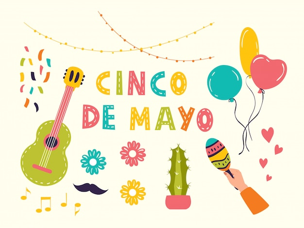 Set of vector icons for cinco de mayo