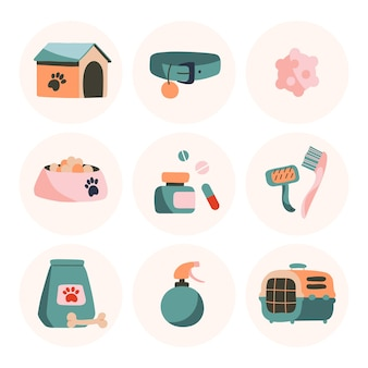 Set of vector icons goods for dogs