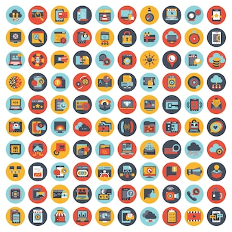 Set vector icons with elements for mobile concepts and web apps